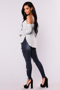 Bound To Glow Skinny Jeans - Dark Denim