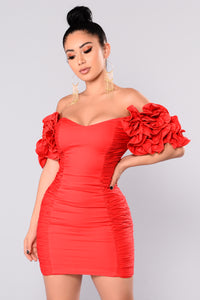 Tate Ruffle Dress - Red