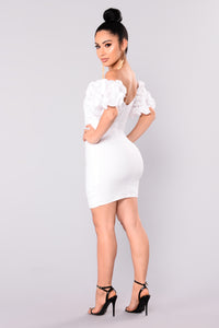 Tate Ruffle Dress - White