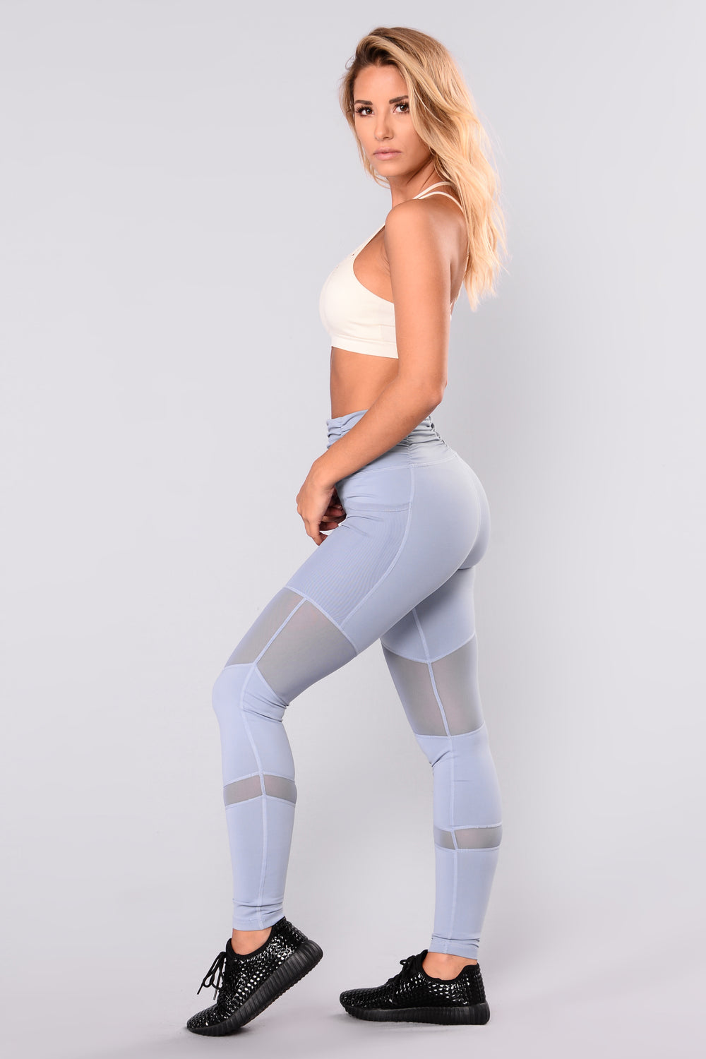 Sarina Mesh Active Leggings - Blue
