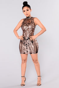 Attention Sequin Dress - Black/Rose Gold