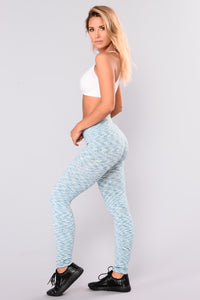 Heather Seamless Fleece Lined Leggings - Teal