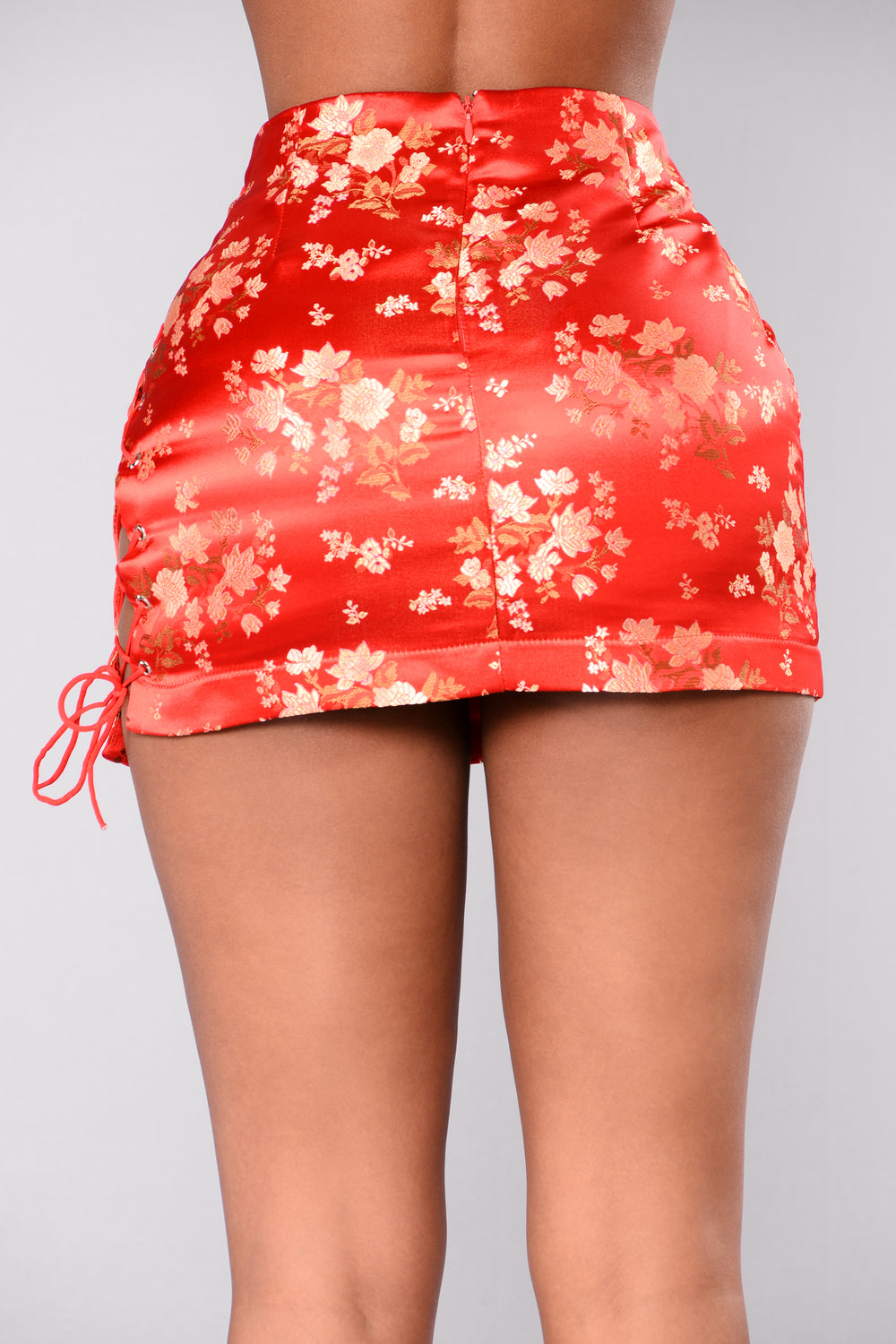 Midnight Chinatown Satin Skirt - Red