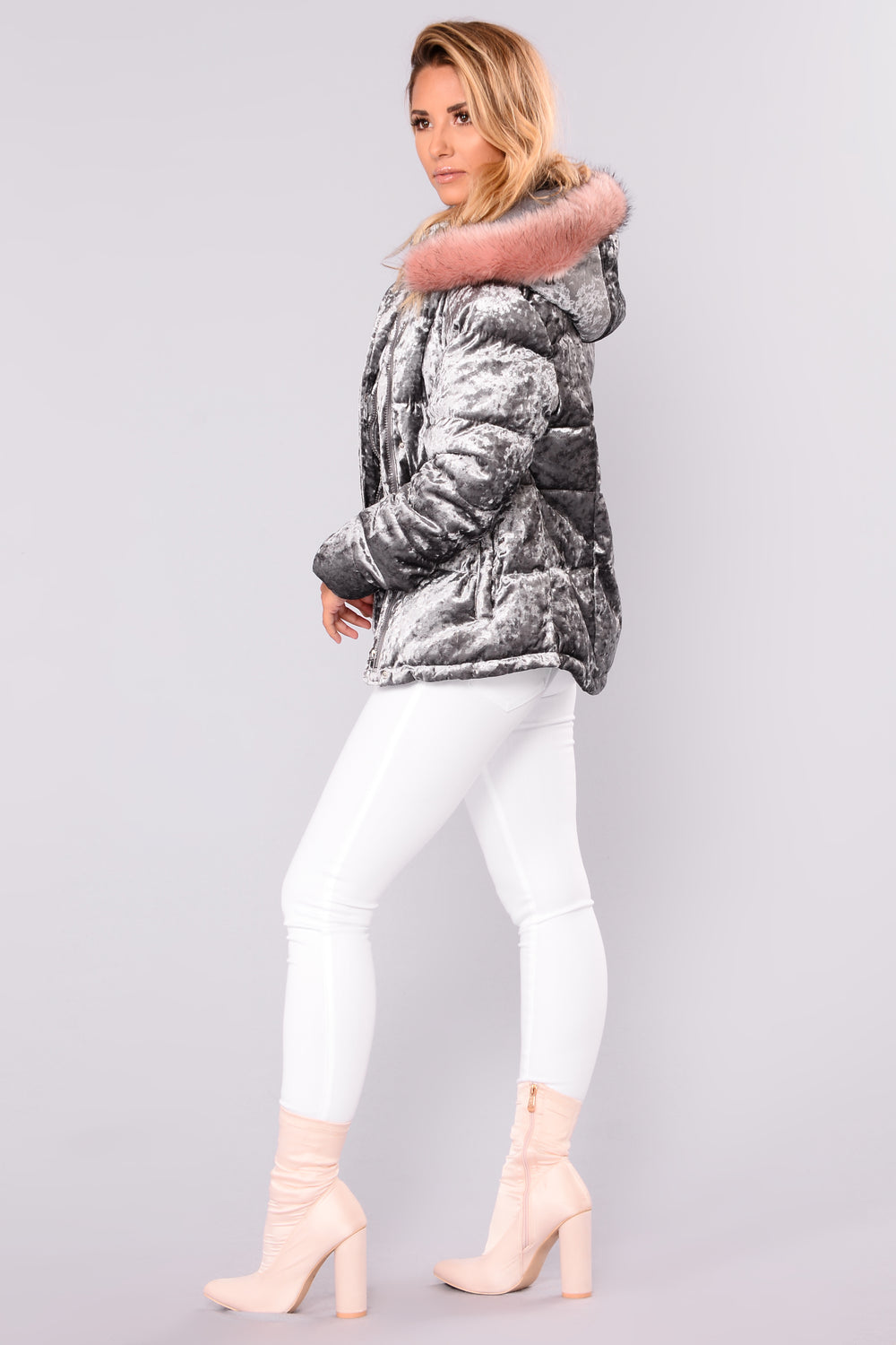 Furry Frenzy Velvet Puffer Jacket - Grey