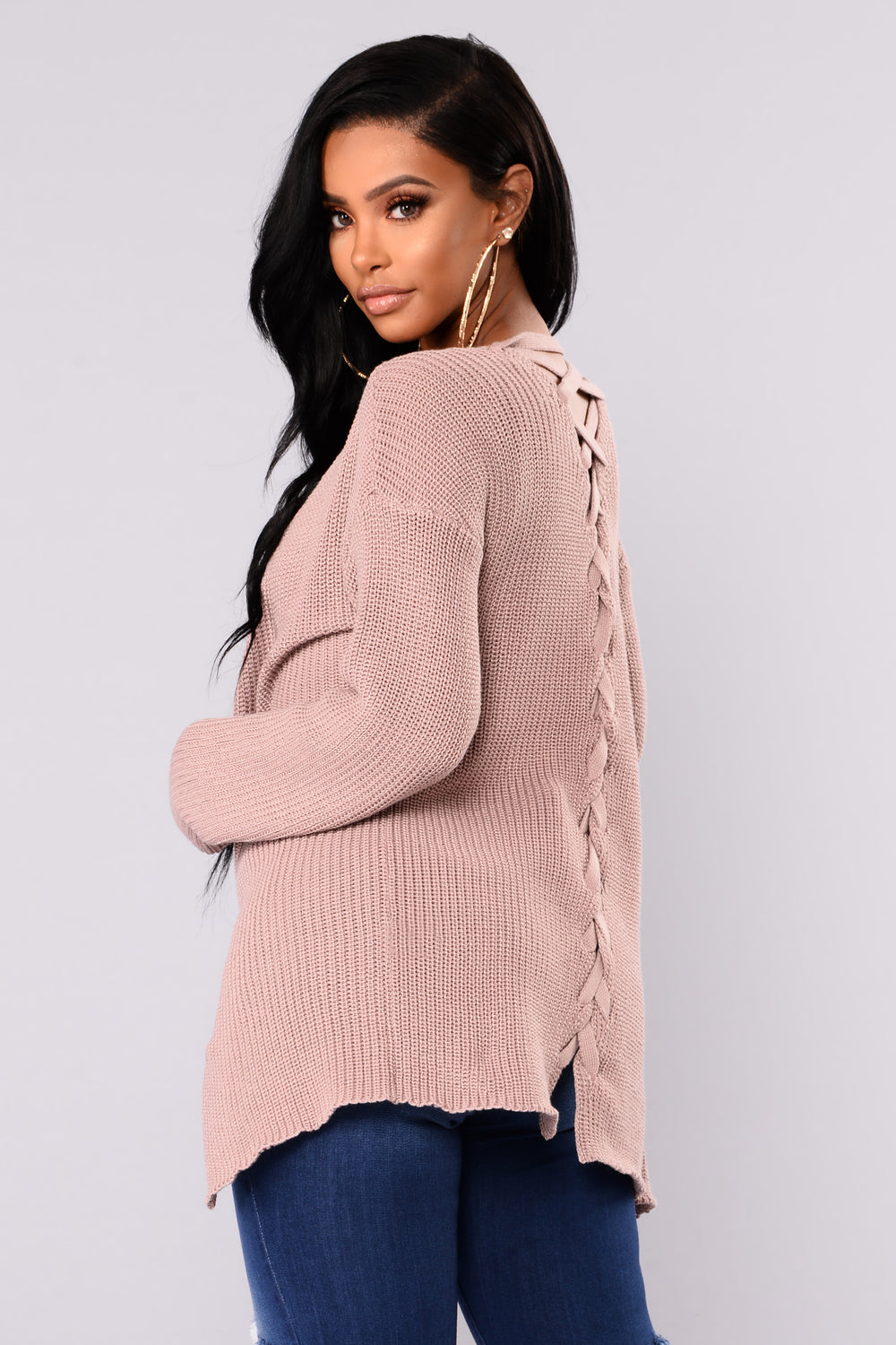 Aubree Lace Up Cardigan - Dusty Pink