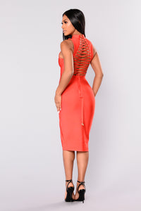 Back Ground Noise Lace Up Dress - Red