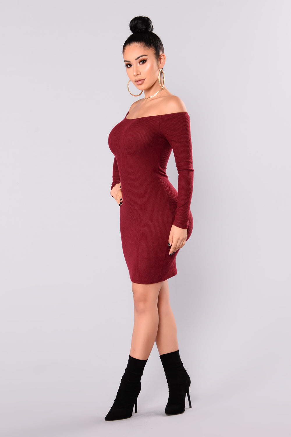 Kaly Sweater Dress - Wine