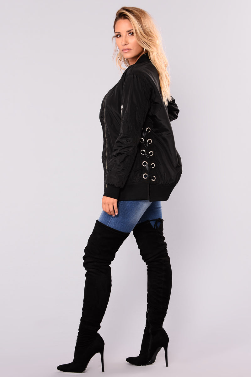 Angelina Lace Up Bomber - Black