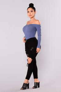 Overdrive Off Shoulder Top - Dark Denim