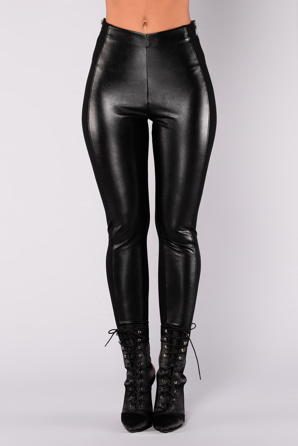 Tina May Faux Leather Leggings - Black