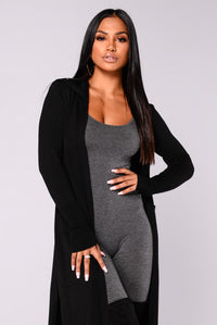 Tahlia Hooded Cardigan - Black Angle 4