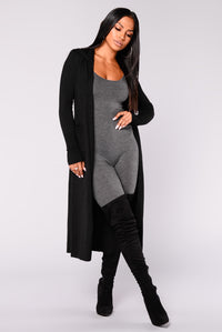 Tahlia Hooded Cardigan - Black Angle 1