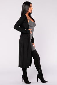 Tahlia Hooded Cardigan - Black Angle 3