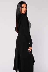 Tahlia Hooded Cardigan - Black Angle 6