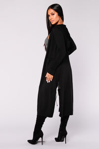 Tahlia Hooded Cardigan - Black Angle 2