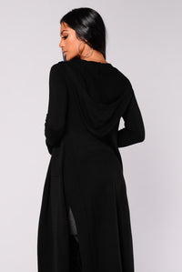 Tahlia Hooded Cardigan - Black Angle 5