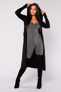 Tahlia Hooded Cardigan - Black Angle 7