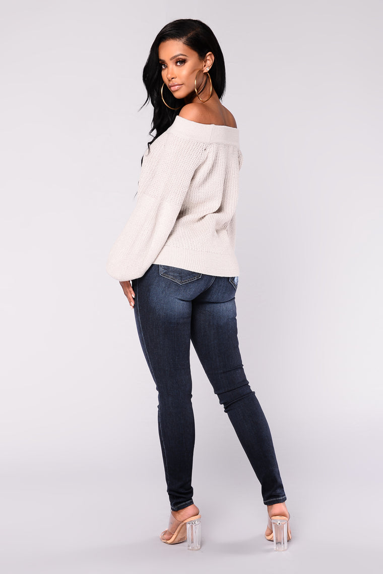 Brittany Off Shoulder Sweater - Silver