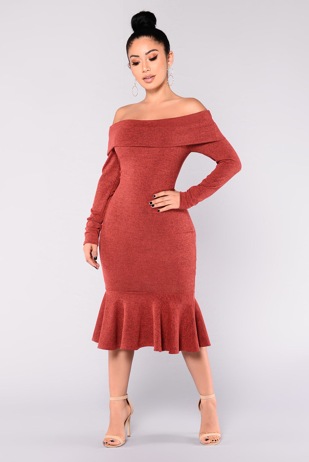 Mimi Mermaid Off Shoulder Dress - Auburn