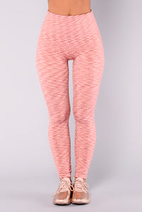 Heather Seamless Fleece Lined Leggings - Pink