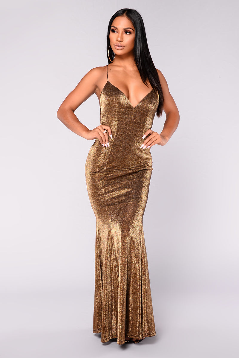 Formally Yours Metallic Dress - Gold
