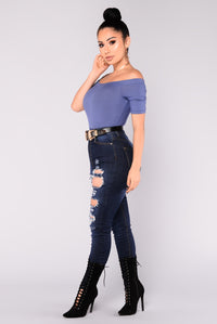 Avery Off Shoulder Bodysuit - Dark Denim