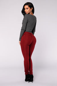 Hyperstretch Skinny Pants - Burgundy