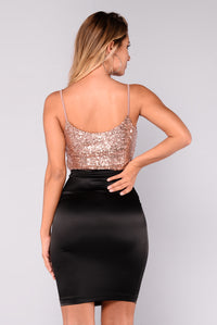 Tamika Sequin Top - Rose Gold