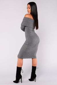 Deep Dark Secret Off Shoulder Dress - Charcoal