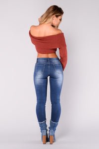 Cruz Off The Shoulder Sweater - Marsala