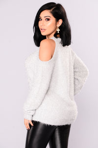 Azalea Cold Shoulder Sweater - Silver