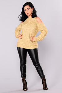 Azalea Cold Shoulder Sweater - Gold Angle 2