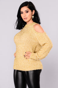 Azalea Cold Shoulder Sweater - Gold Angle 3