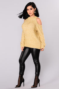 Azalea Cold Shoulder Sweater - Gold Angle 4