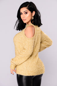 Azalea Cold Shoulder Sweater - Gold Angle 6