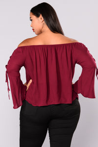 Bedroom Secrets Off Shoulder Top - Burgundy