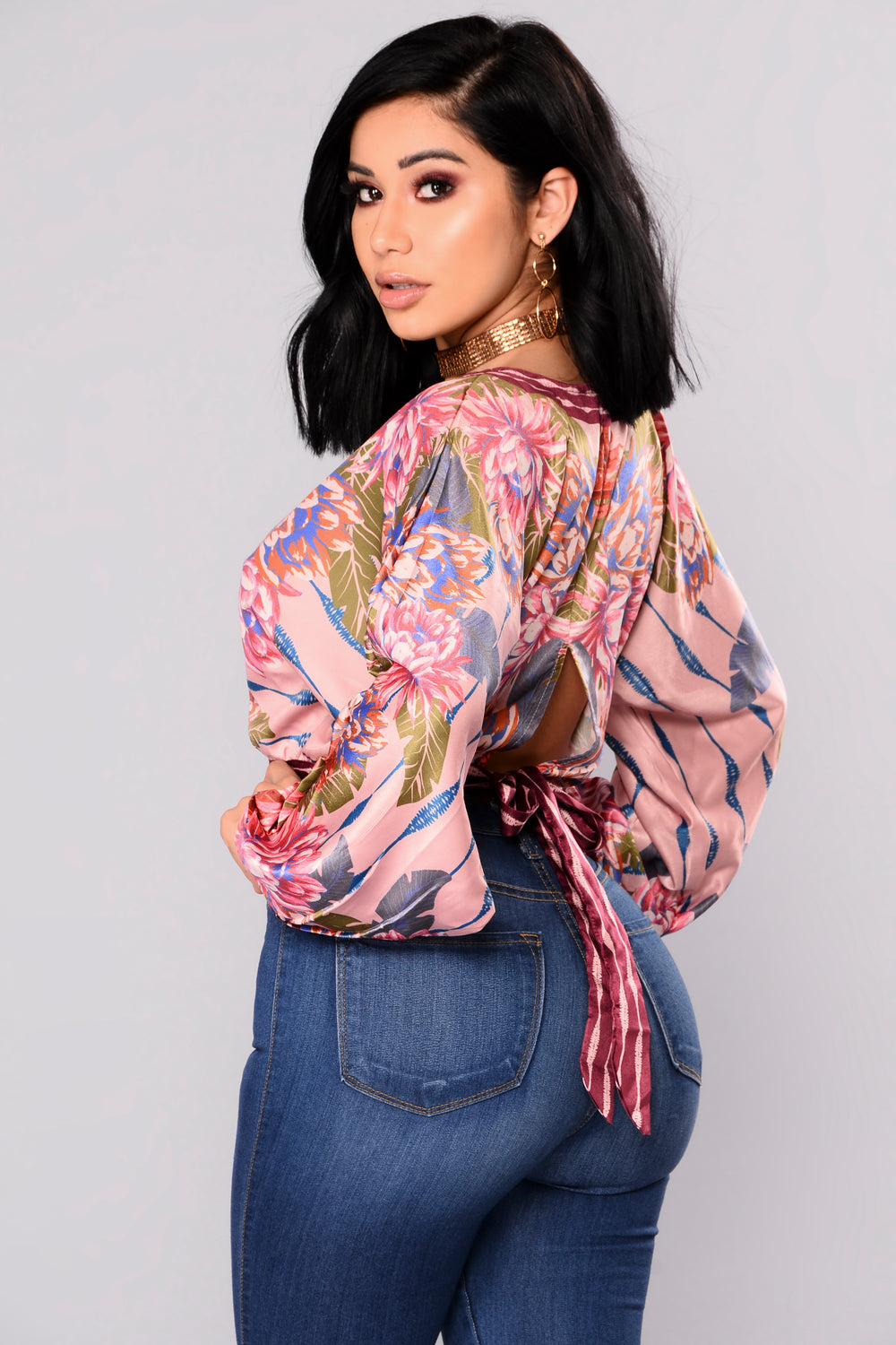 Moments Satin Crop Top - Multi Color