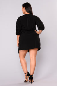 Ysable Bubble Sleeve Dress - Black