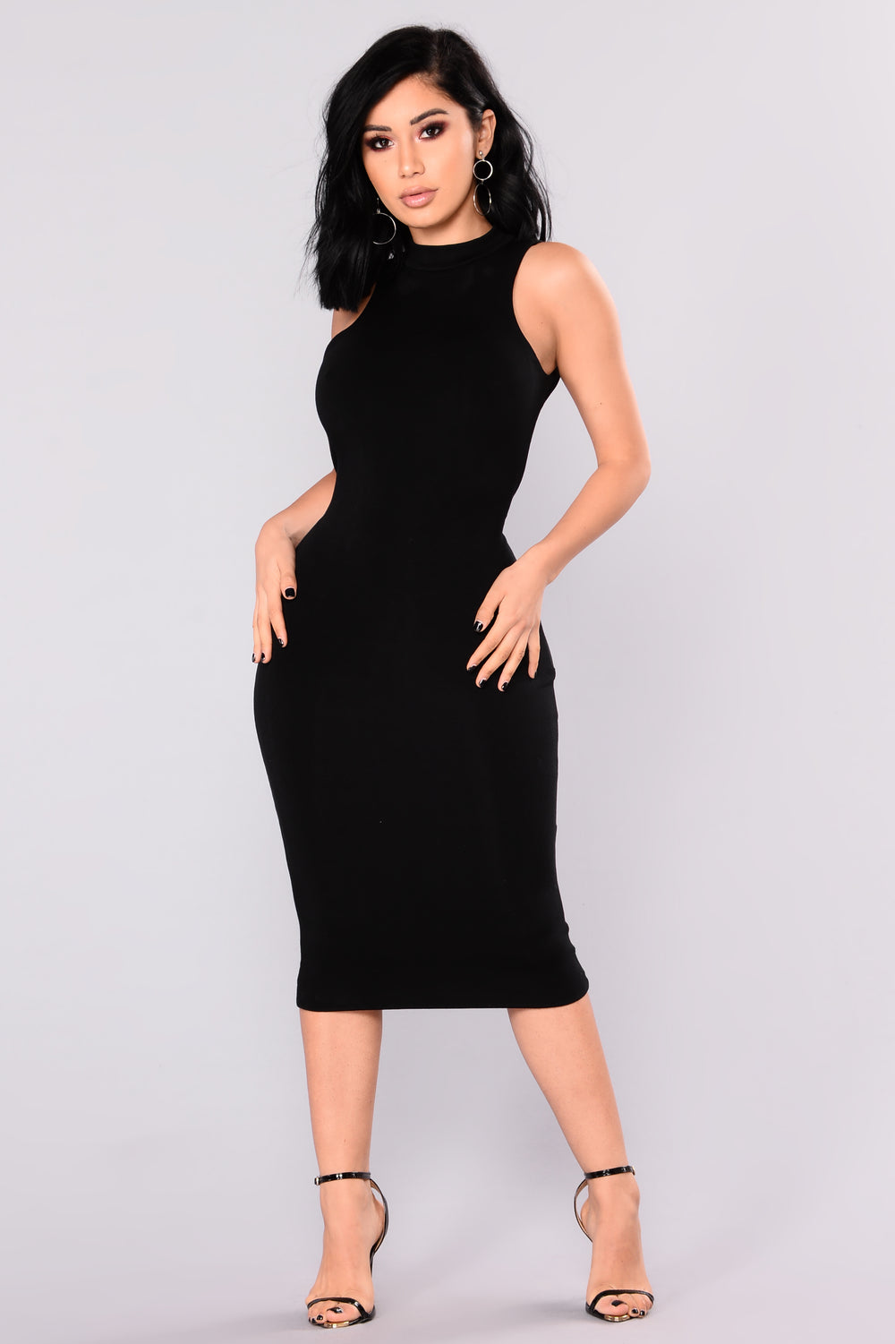 Chase Me Down Midi Dress - Black