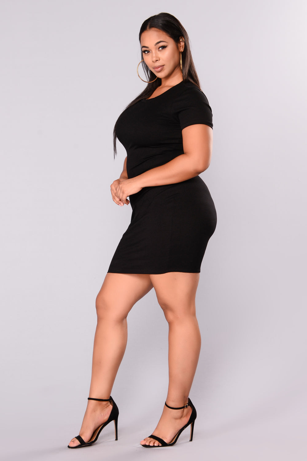 Natasha Ribbed Mini Dress - Black