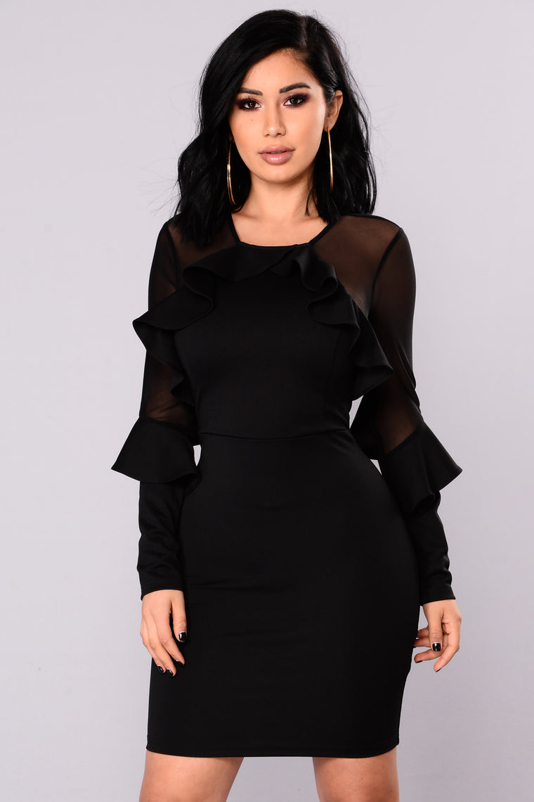 Alyssia Ruffle Dress - Black