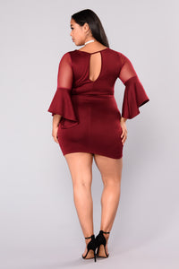Hold Me By The Heart Dress - Burgundy