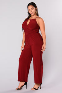 Bad At Love Jumpsuit - Burgundy