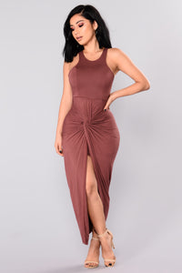Lizette Draped Dress - Red Brown