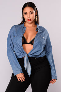 Karter Chambray Top - Medium Blue Wash