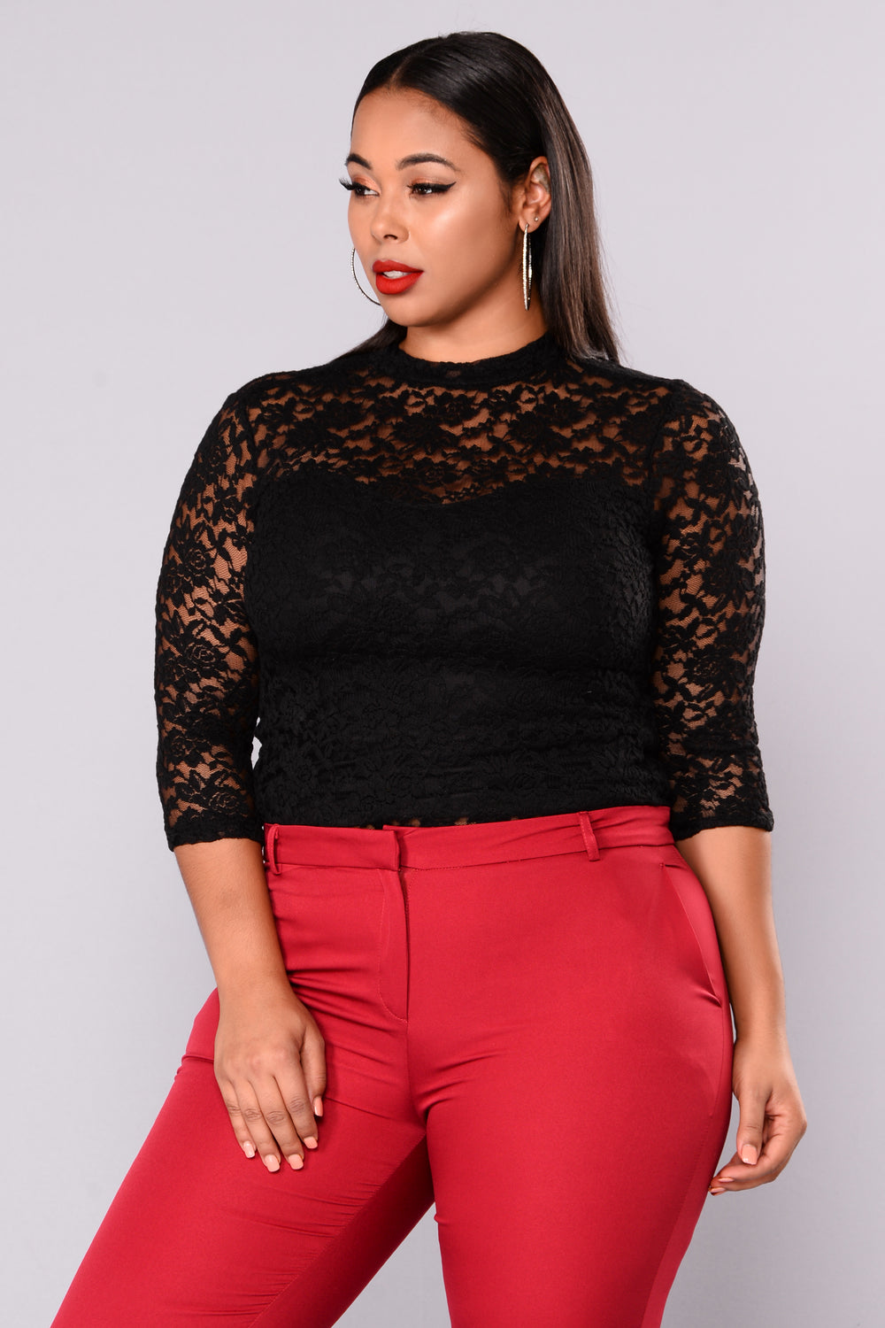 Keeping It Classy Lace Top - Black
