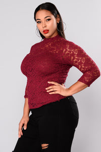Keeping It Classy Lace Top - Burgundy