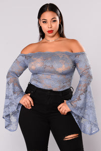 Misty Majesty Lace Bodysuit - Dusty Blue