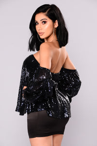 A Haute Mess Sequin Top - Midnight