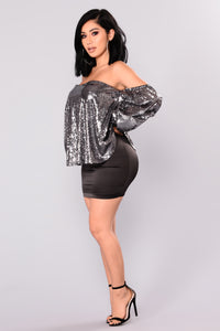 A Haute Mess Sequin Top - Gun Metal
